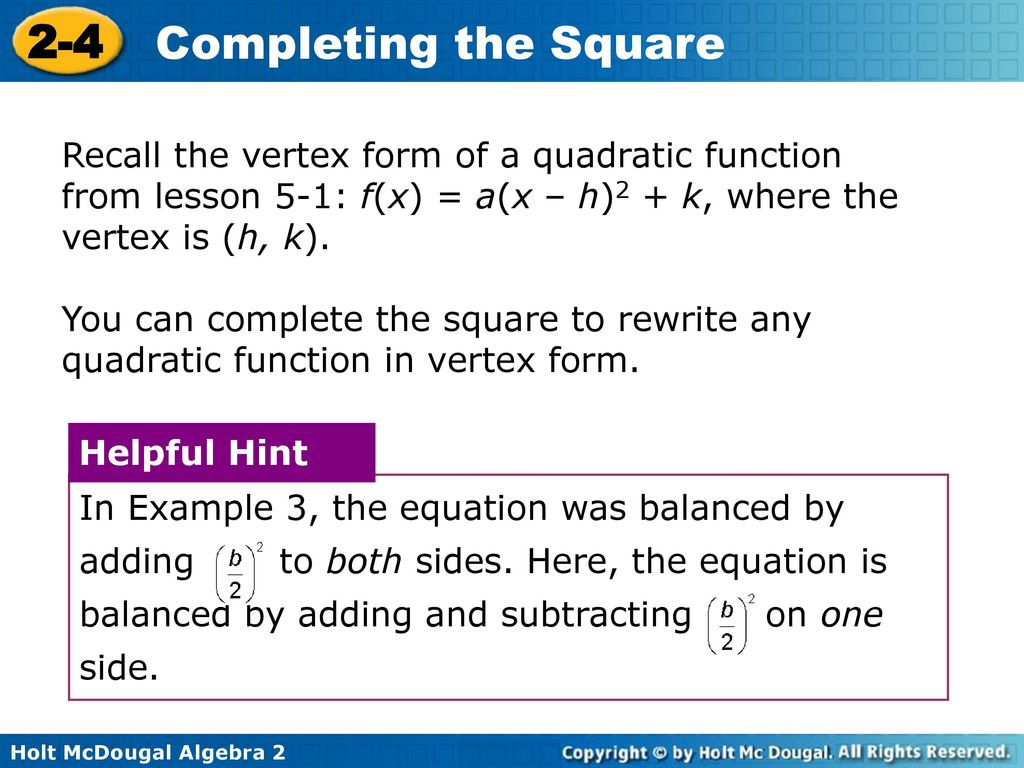 2 4 Completing The Square Warm Up Lesson Presentation Lesson Quiz