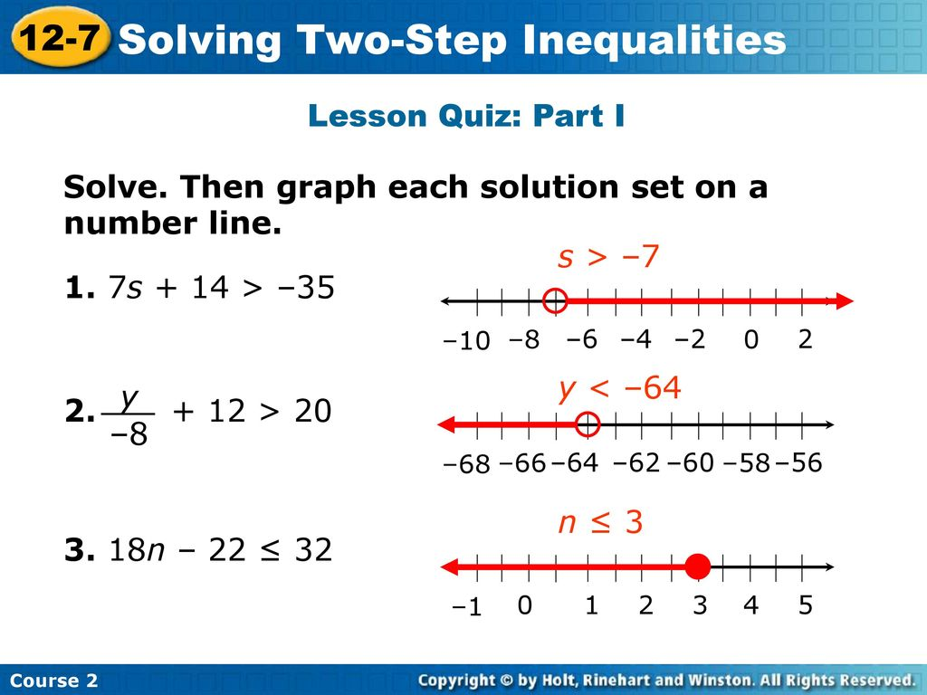 Solving Two Step Inequalities