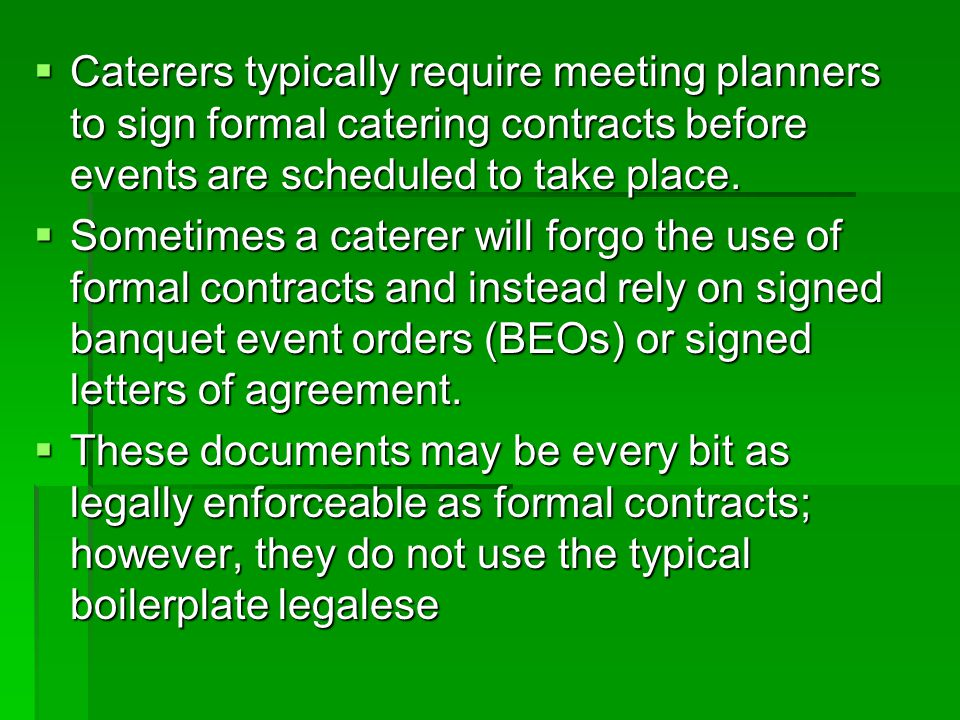 Banquet Agreement Contracts