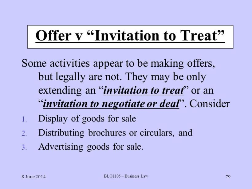 Invitation To Treat Case The Most Important Difference Between Offer And