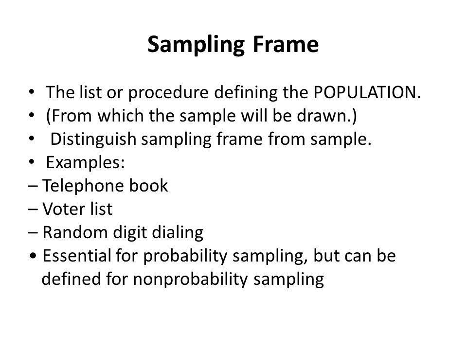 definition sampling frame | Framess.co