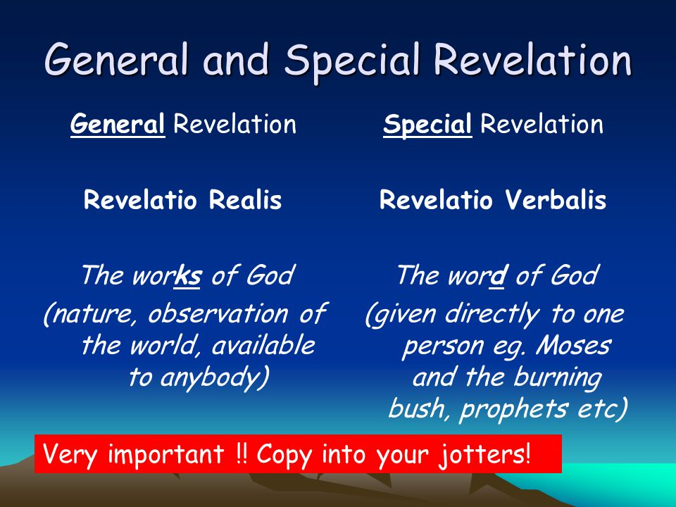 Image result for general and special revelation