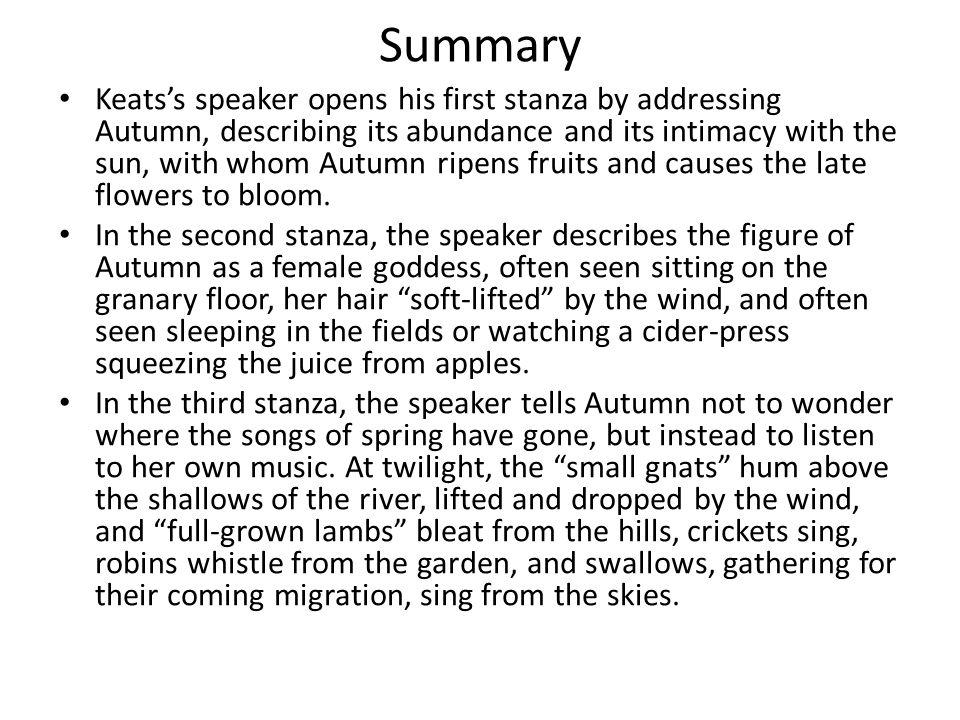 ode to autumn summary and analysis