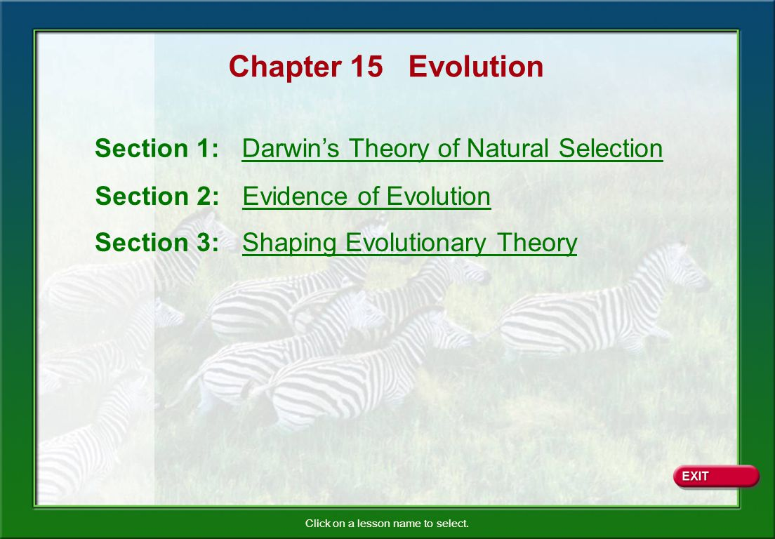 Chapter 15 Evolution Section 1 Darwin S Theory Of Natural Selection
