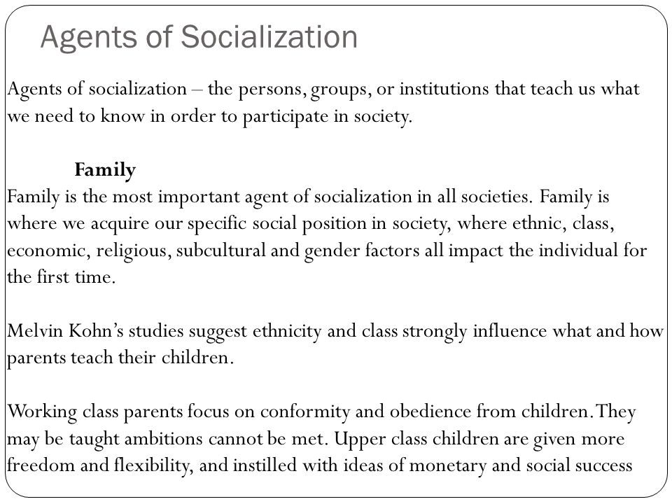 4 agents of socialization