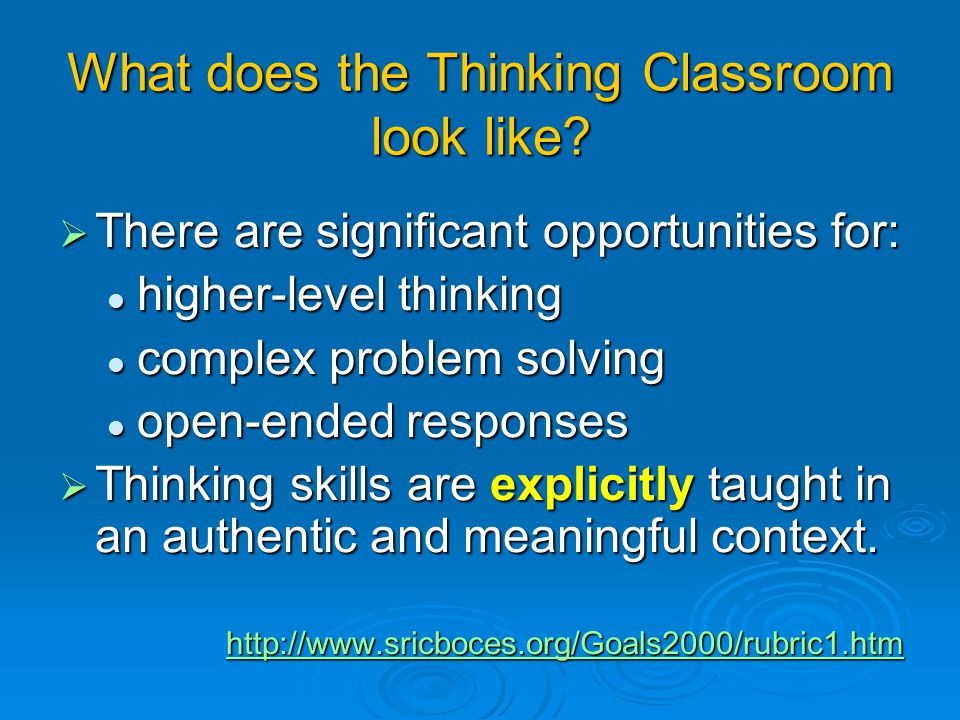 Creating A Thinking Curriculum: Higher-order Thinking
