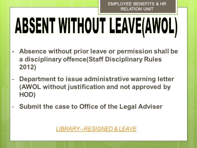 Warning letter to employee for absence without permission msd management services division ppt online altavistaventures Gallery