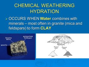 WEATHERING Definition: The physical and chemical processes that break down rock on earth's