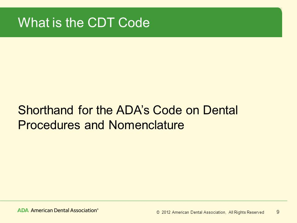 2017 Procedure Cdt Dental Codes