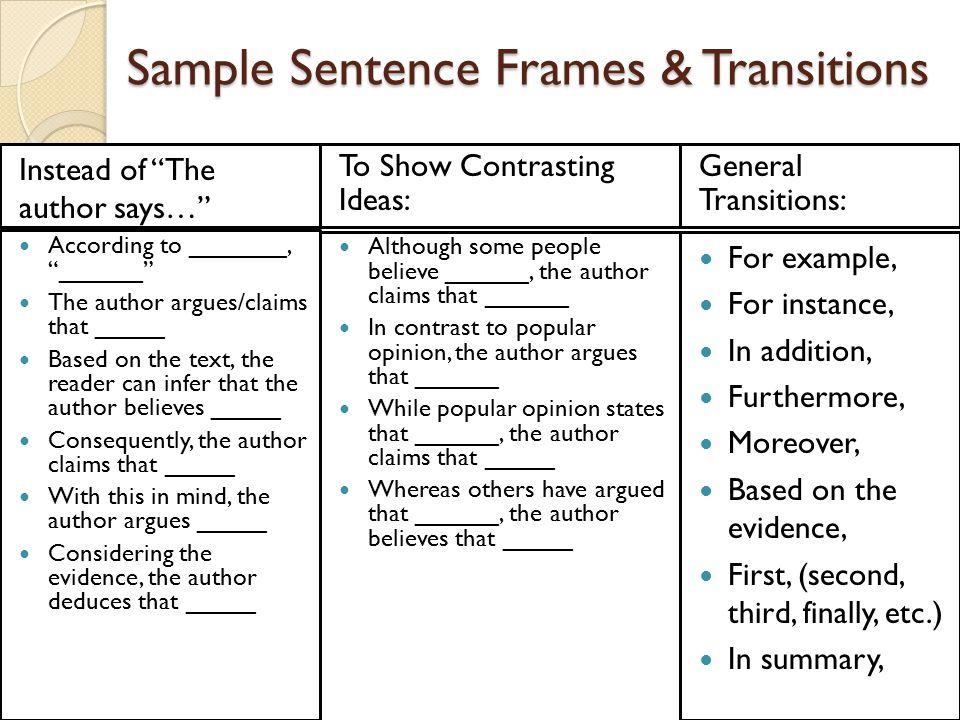 sentence frames for ells | Framess.co