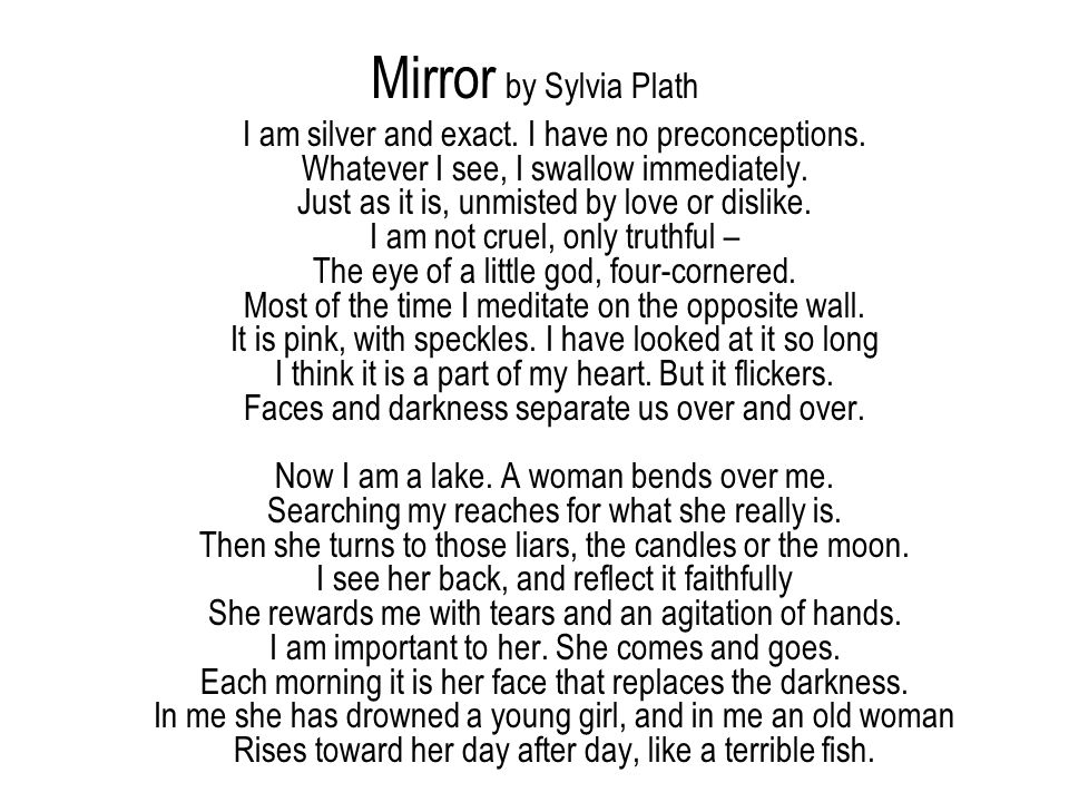 Image result for mirror sylvia plath