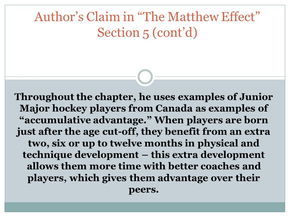 the matthew effect outliers