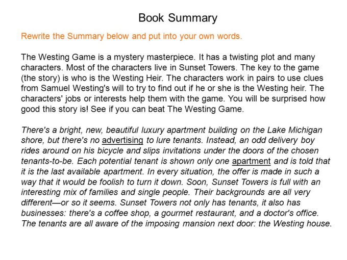 The Westing Game Whole Book Summary Cartoonjdi