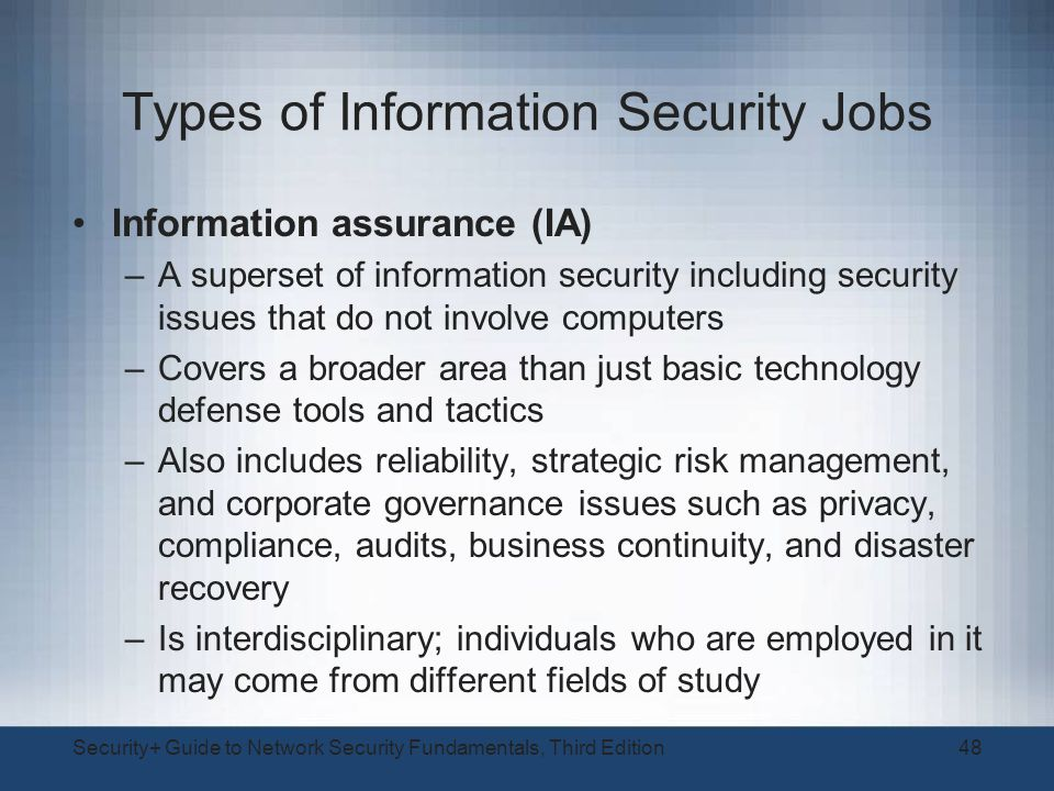 Types Jobs Security