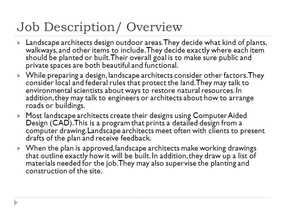 Landscape Resume Duties Server Description For Cover