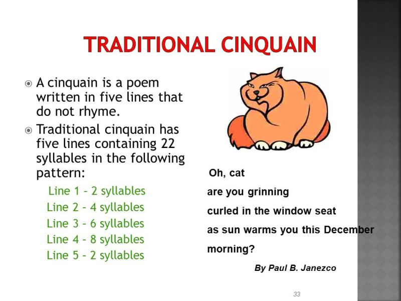 best cinquain poem examples for middle school image collection