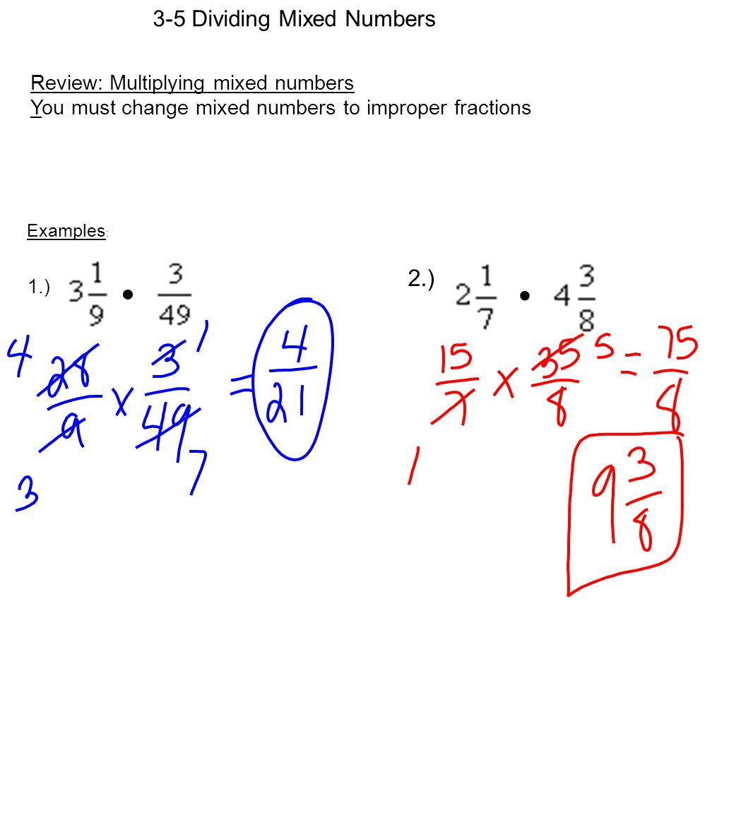 2 3 5 Dividing Mixed Numbers Review Multiplying Mixed