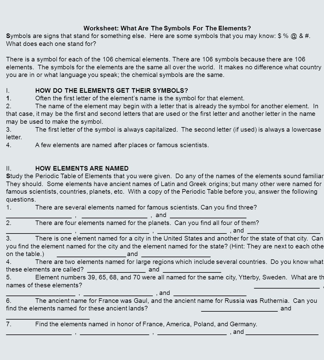 Worksheet Element Symbols Worksheet Grass Fedjp Worksheet Study Site