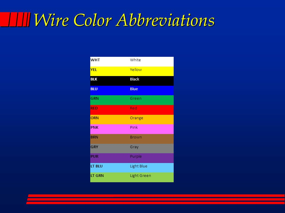 automotive wiring diagram color abbreviations electrical