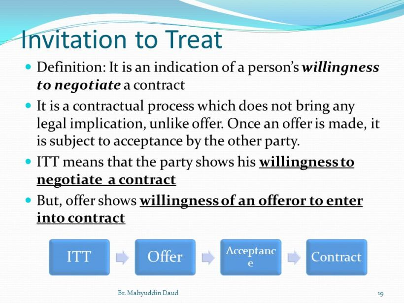 Law Offer And Invitation To Treat