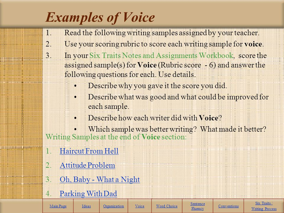 Six Trait Writing Examples