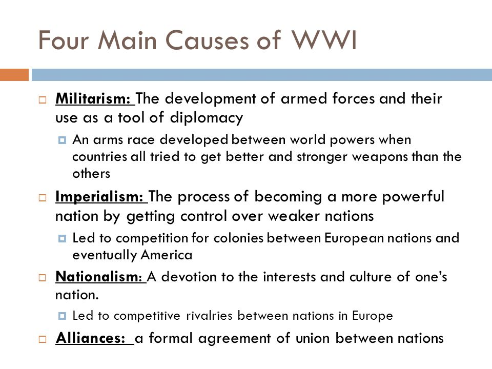 what are 4 main causes of ww1