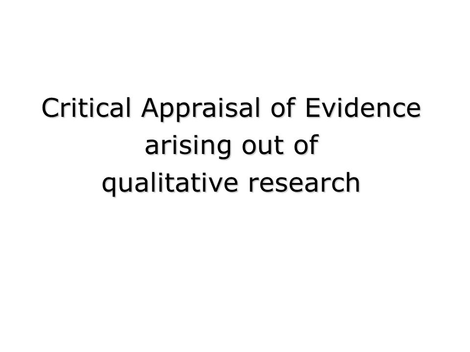 Image Result For Critical Appraisal