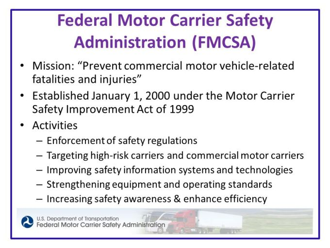 Motor carrier act of 1980 for Federal motor carriers safety administration
