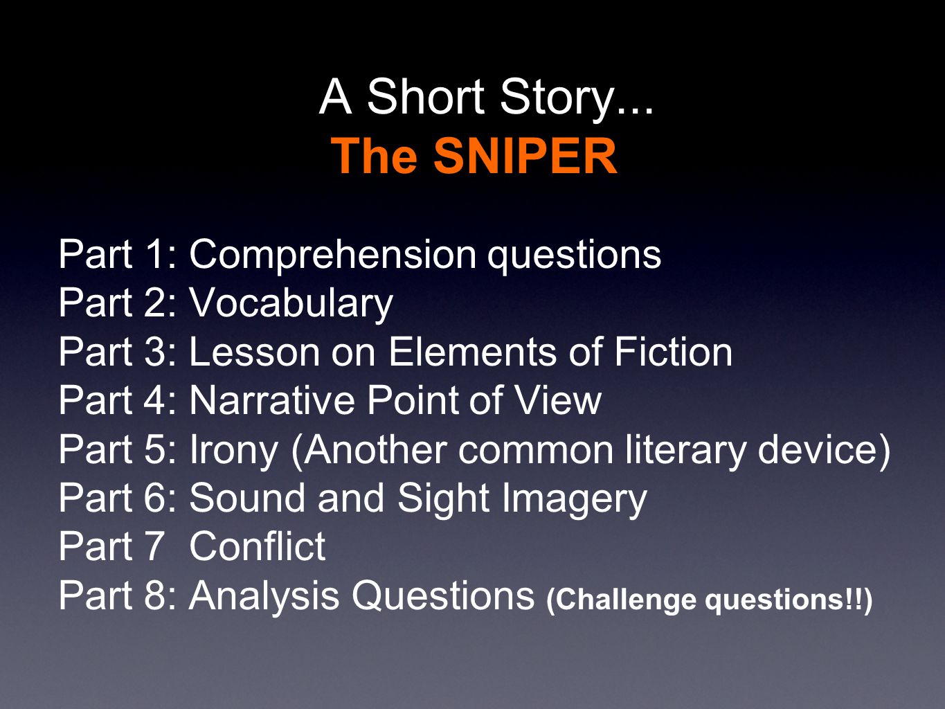 A Short Story The Sniper By Liam O Flaherty
