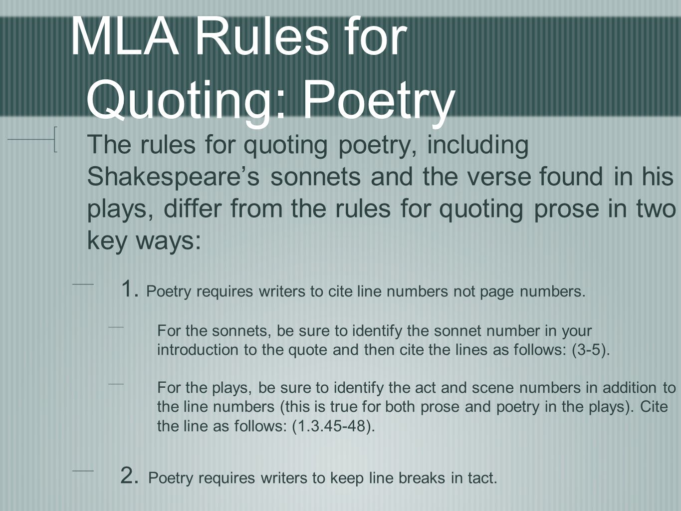 how do you cite a poem in mla
