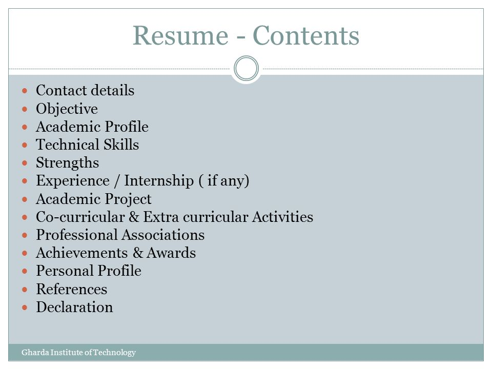 Contents Of Resume Resume Sample