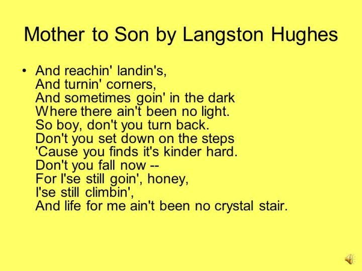poem by langston hughes mother to son co understand and appreciate the poem ppt online