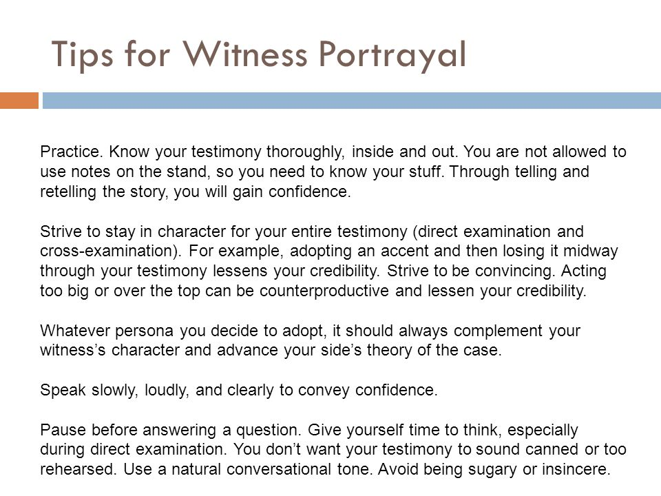 Direct Examination Examples Questions