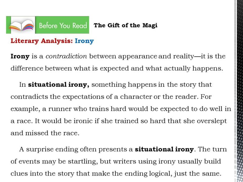 The Gift Of Magi Literary Analysis Irony And Surprise Ending Answers