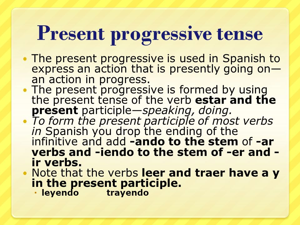 Past Progressive Tense Spanish