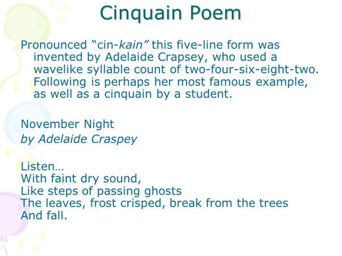 example of a famous cinquain poem poemview co