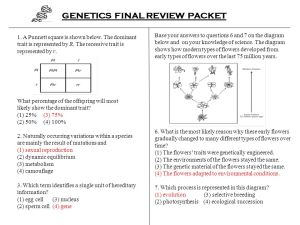 GENETICS FINAL REVIEW PACKET  ppt video online download