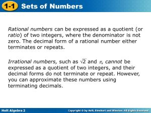 11 Sets of Numbers Warm Up Lesson Presentation Lesson