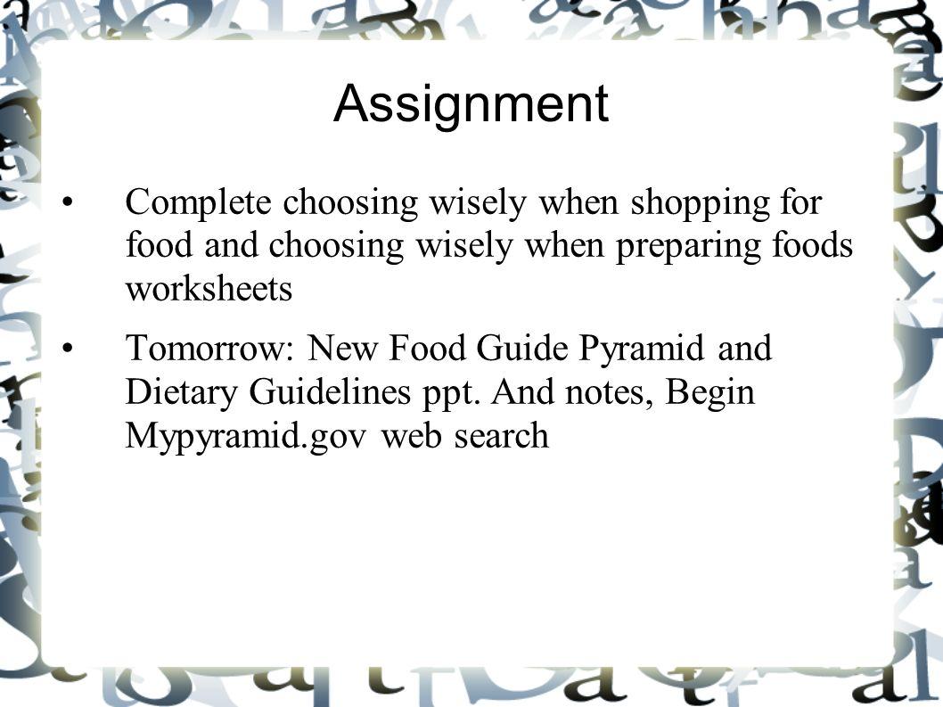 Making Healthful Food Choices