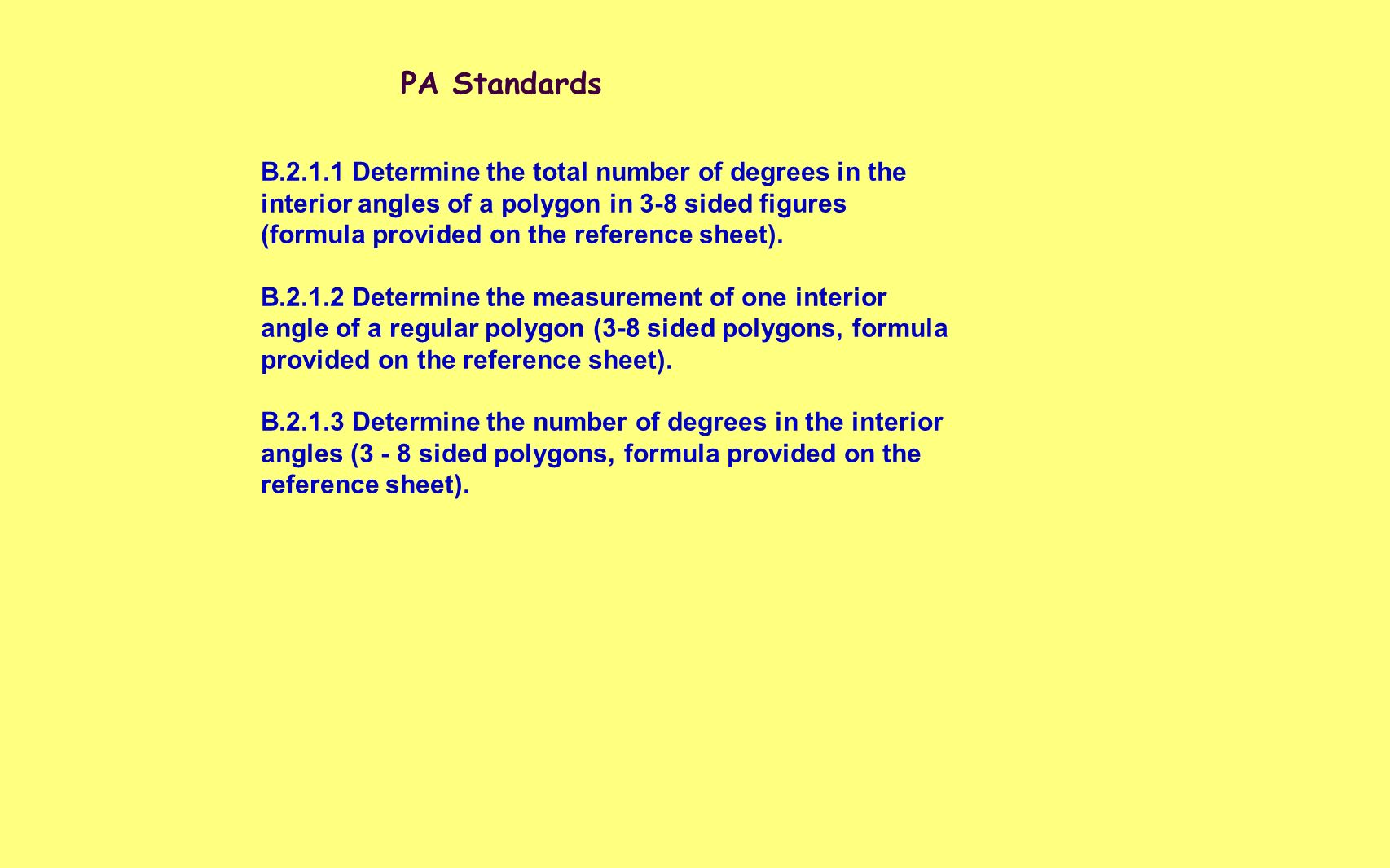 Measures Of Angles Of Polygons