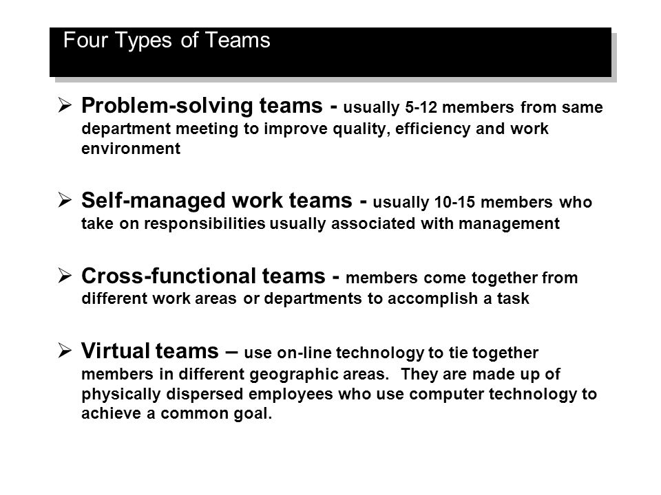 Image result for different types of teams self managed, cross-functional