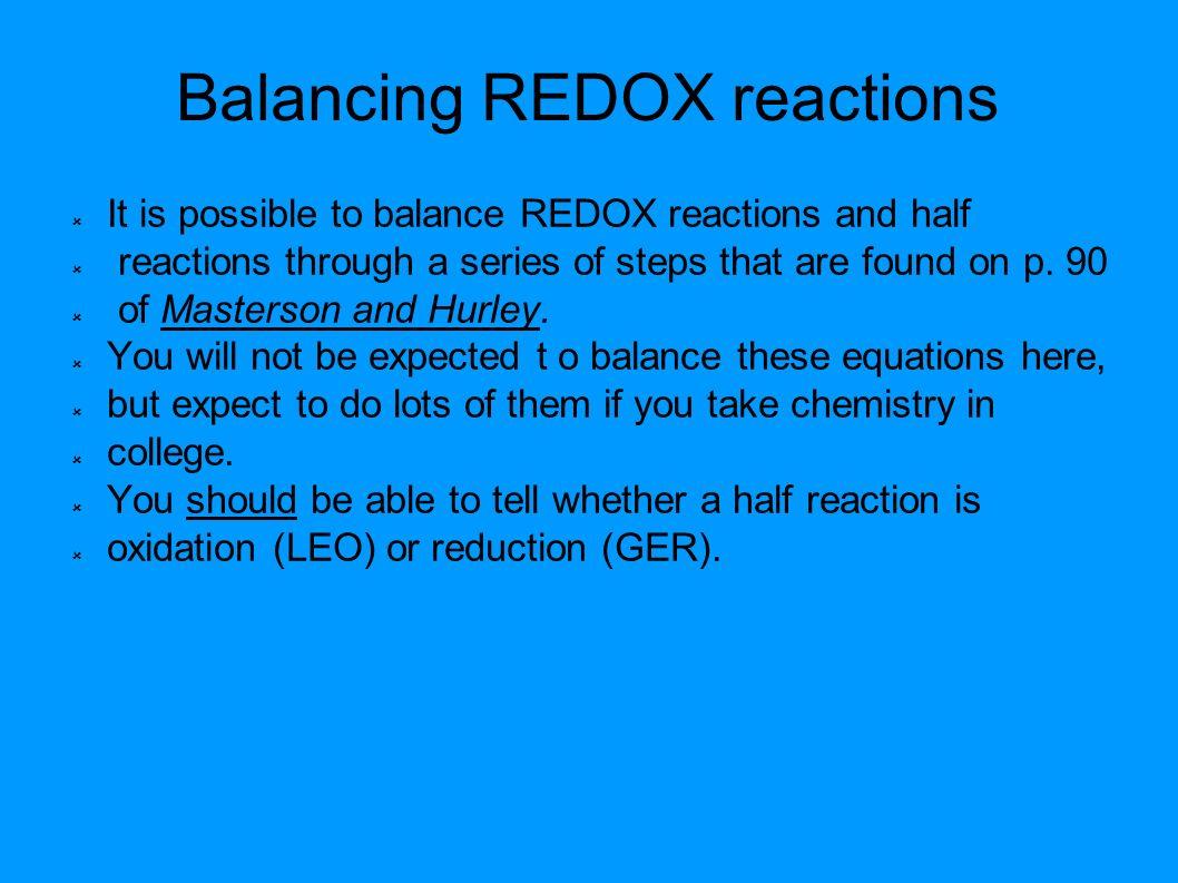 Balancing Oxidation Reduction Reactions Worksheet