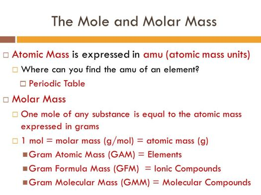 the mole and molar mass atomic is expressed in amu units