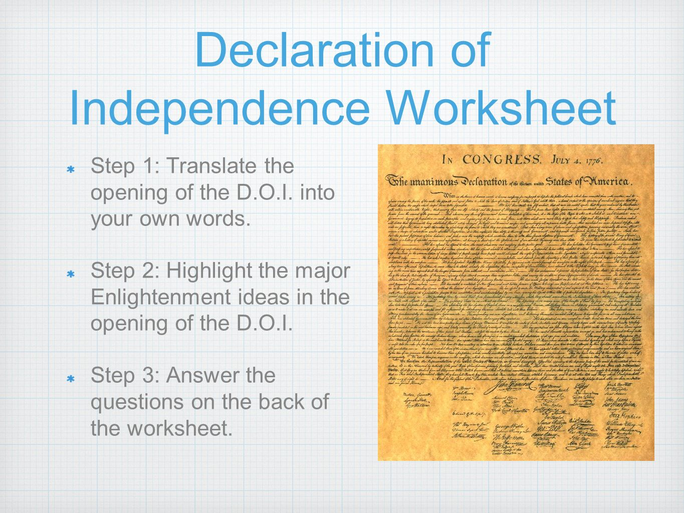 Worksheet Declaration Of Independence Worksheet Grass