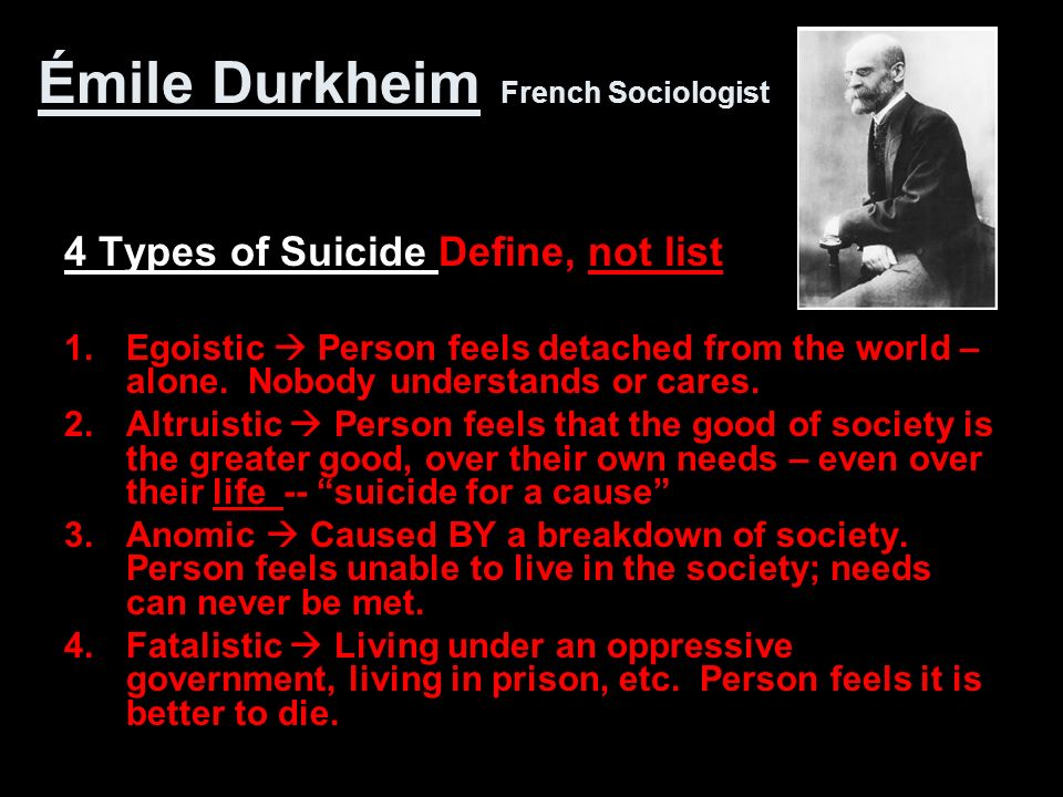 4 types of suicide