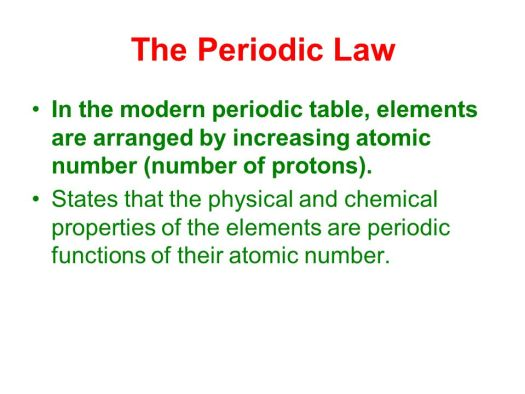 The modern periodic table is arranged by increasing atomic arranged by increasing atomic the modern periodic table ppt online urtaz Gallery