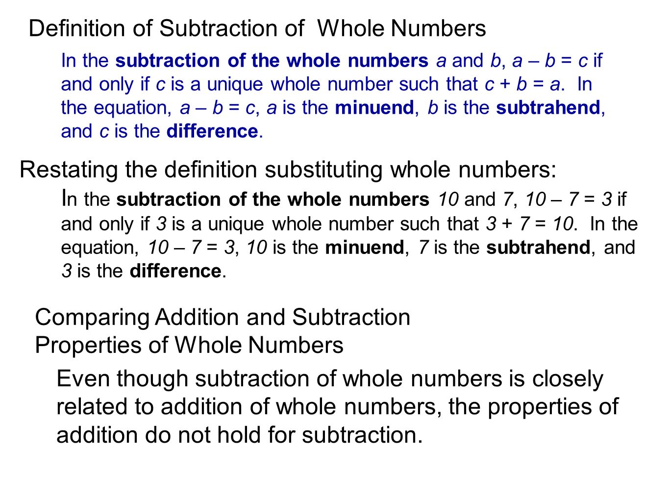 Addition And Subtraction Of Whole Numbers