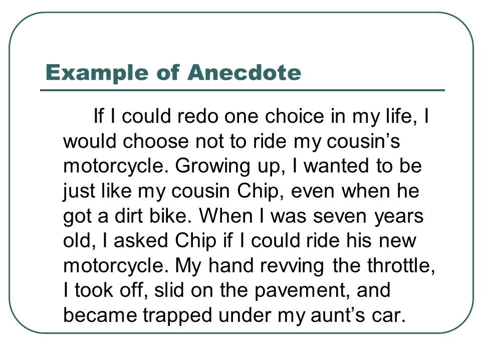 And Anecdote Examples Definition