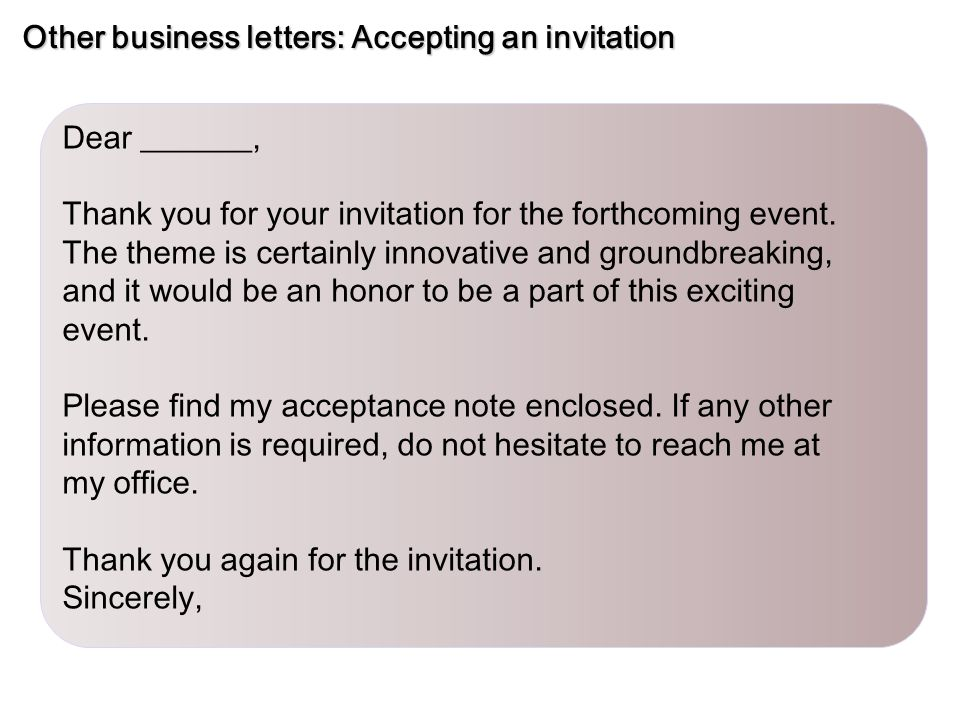 Sample Letter To Accept An Invitation Invitationjpgcom