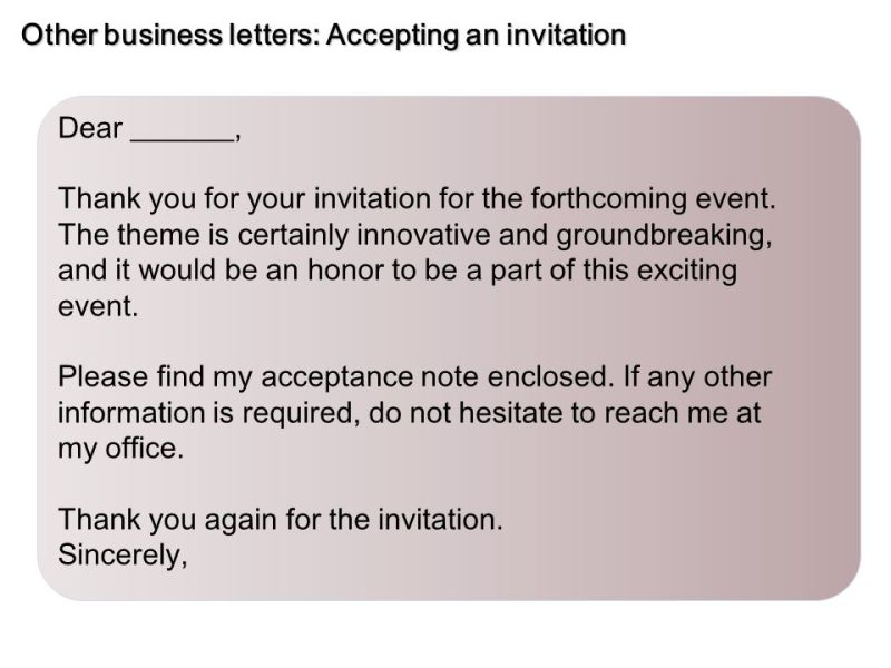 Sample letter to accept an invitation invitationjpg other business letters accepting an invitation sample inquiry ppt thank you note for accepting invitation invitationswedd org expocarfo Gallery